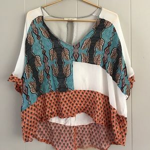 Zara Collection W&B high-low flowy boho top