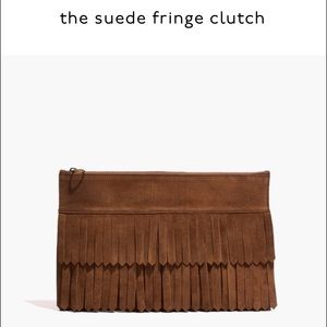 Madewell Handbags - MADEWELL suede fringe clutch bag