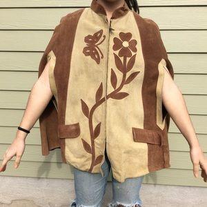 Vintage Jackets & Blazers - Vintage leather CAPE Poncho festival 70s hippie