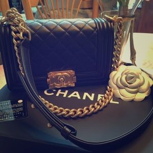 CHANEL Handbags - AUTHENTIC CHANEL BOY BAG PURSE BLACK QUILTED