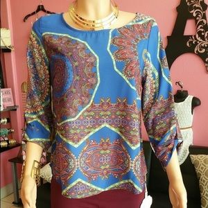 Royal blue paisely top