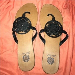 Yellow Box Shoes - Yellow Box black flip flops. Size 9