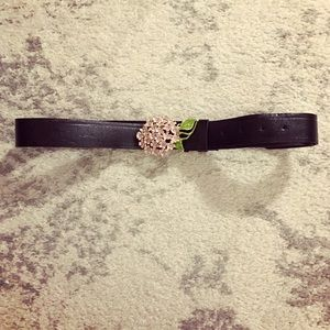Accessories - Dark brown leather belt with lilac flower buckle