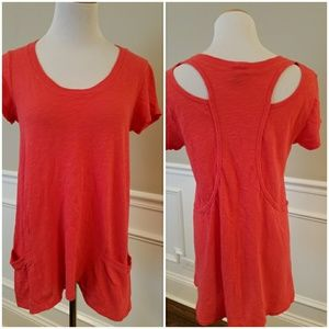 Anthropologie Tops - Anthropologie Coral Cut Out Tunic SZ S