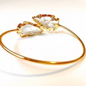 Bondhu Jewelry - Bondhu ||| Crystal Arrowhead Bangle, 24kt Gold