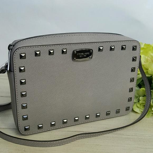 ef9632ce77b5 Michael Kors Saffiano Stud EW crossbody grey bag NWT