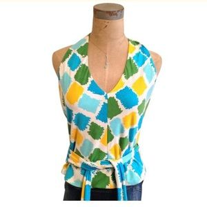 Milly Tops - [Milly] of New York Multi Color Halter Top Medium