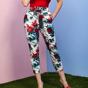 Pinup Girl Clothing Pants - Pinup Girl Clothing Floral Cropped Trousers