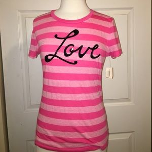 Aeropostale pink LOVE sequin striped L tshirt NWT