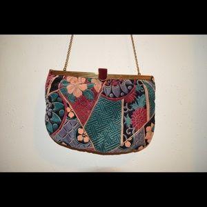Antique vintage velvet floral crossbody bag