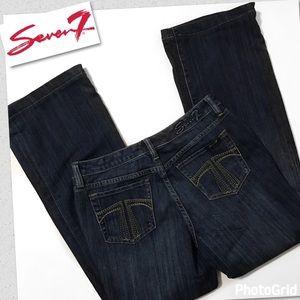 Seven7 Flare Medium/Darker Wash Size 6 Jeans
