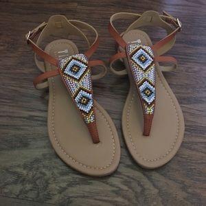 Tiara Shoes - Cute Aztec brown sandals