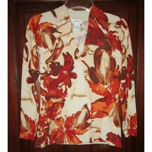 Carmen Marc Valvo Tops - Carmen Marc Valvo S Knit Top Floral Print Fitted