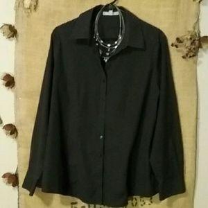 Foxcroft Tops - Foxcroft 14W Black Non-Iron Stretch Shirt
