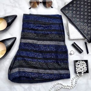 Metallic Textured Stripe Shorts