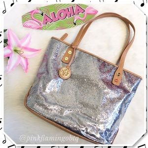 Marc Fisher Handbags - Marc Fisher Spark Satchel Silver Glitter Tote
