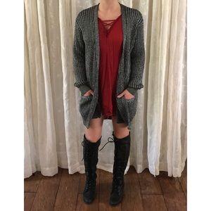 Adrienne Vittadini Metallic Vintage Cardigan