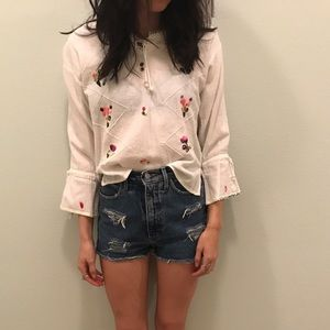 Free People Tops - Floral Embroidered Peasant Top