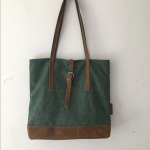 Olive green and leather bag