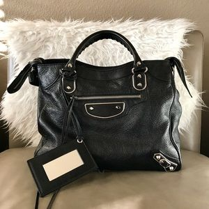Balenciaga Metallic Edge Velo Bag Black
