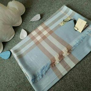 Burberry Accessories - BLUE PLAID Cashmere Pashmina Scarf Shawl NWT