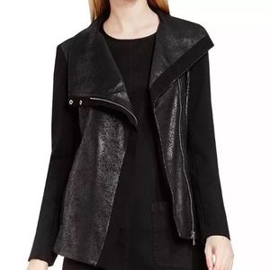 Two by Vince Camuto Black Crackle Moto Jacket