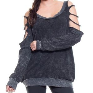 Sweaters - Sexy sweater ladder sleeves Navy hi-low