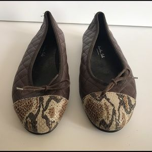London Sole Quilted Flats w Snakeskin Toe Detail