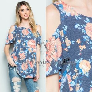 French Terry Floral Cold Shoulder Tunic Top