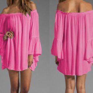 Dresses & Skirts - Pink open shoulder mini dress
