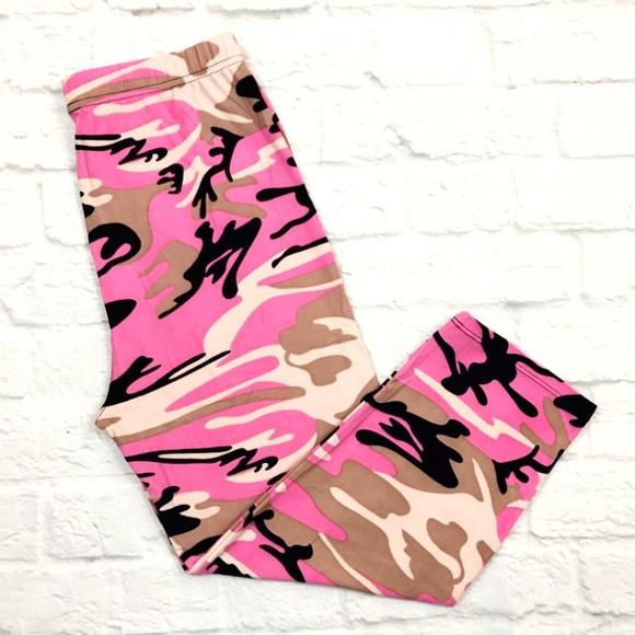 86db987c64460 Pants | Buttery Soft Pink Camouflage Capri Legging Camo Os | Poshmark