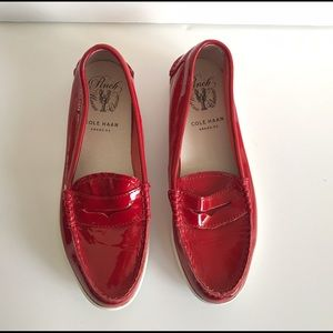 Cole Haan Red Pinch Patent Weekender