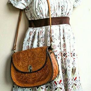 Vintage Handbags - Vintage Tooled Leather Shoulder Bag