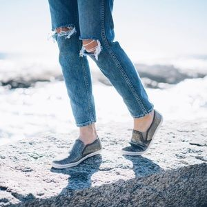 Boutique Shoes - Silver Slip On Espadrille Sneakers