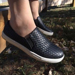 Boutique Shoes - Black Diamond Slip On Sneakers Espadrille
