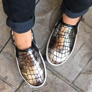 Boutique Shoes - Metallic Croc Embossed Slip On Sneaker Espadrille