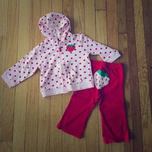 Carter's Other - 🍓Carter's 12 month Strawberry Pant and Hoodie Set