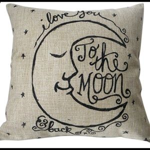 "Accessories - 18""x18"" Love U To The Moon Linen Pillow Cover NEW"