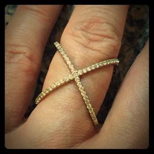 Jewelry - X CZ ring gold