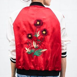 Ily Couture Jackets & Blazers - Red Floral Bomber Jacket