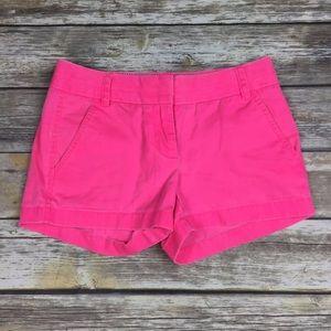 J. CREW Sz 00 Neon Pink Chino Shorts 3 Inch