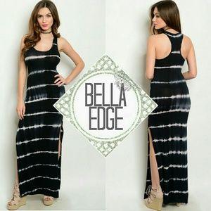 Bella Edge Dresses & Skirts - Dark navy tie dye slit side racerback maxi dress