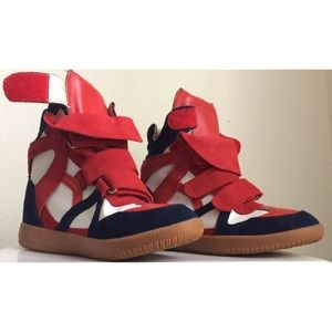 Isabel Marant red and blue wedge sneakers