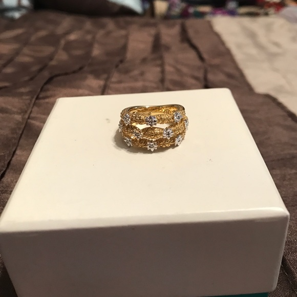 QVC QVC Andrea Ventura Diamond accent Triple Band ring from