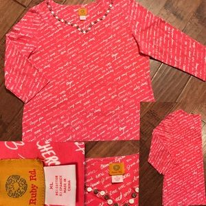 3/4 sleeve pink Ruby Rd. Shirt size XL