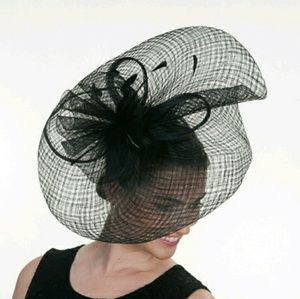 Accessories - Black Sinamay Derby Church Wedding Fascinator Hat