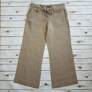 {GAP} Tan Wide Leg Linen Trousers Size 12