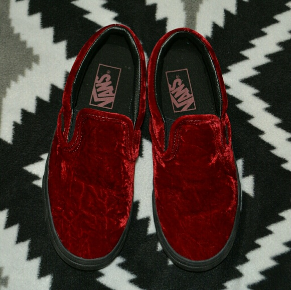b9e4f77296ad Vans Shoes - Vans Classic Slip-On Velvet Oxblood Black