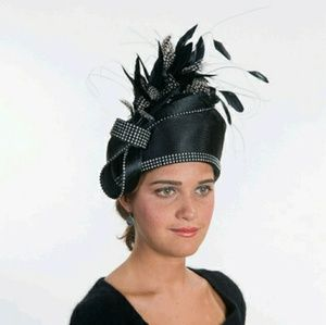 Accessories - Black Satin Pillbox Feather Church Derby Hat