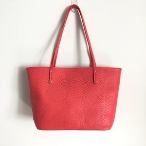 Gigi NY Python Embossed Leather Tote In Poppy